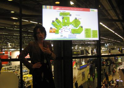 A moment of the speech of Isabelle Alfano, Directrice du pole Agro-equipment COMEXPOSIUM during the Paris AGM
